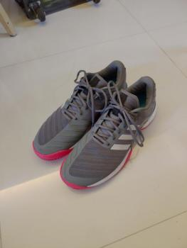 link to Adidas Barricade 2018 BOOST Grey/Scarl US 11 at 200hkd